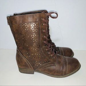 Rampage Padma Brown Tie Up Combat Boots Size 9